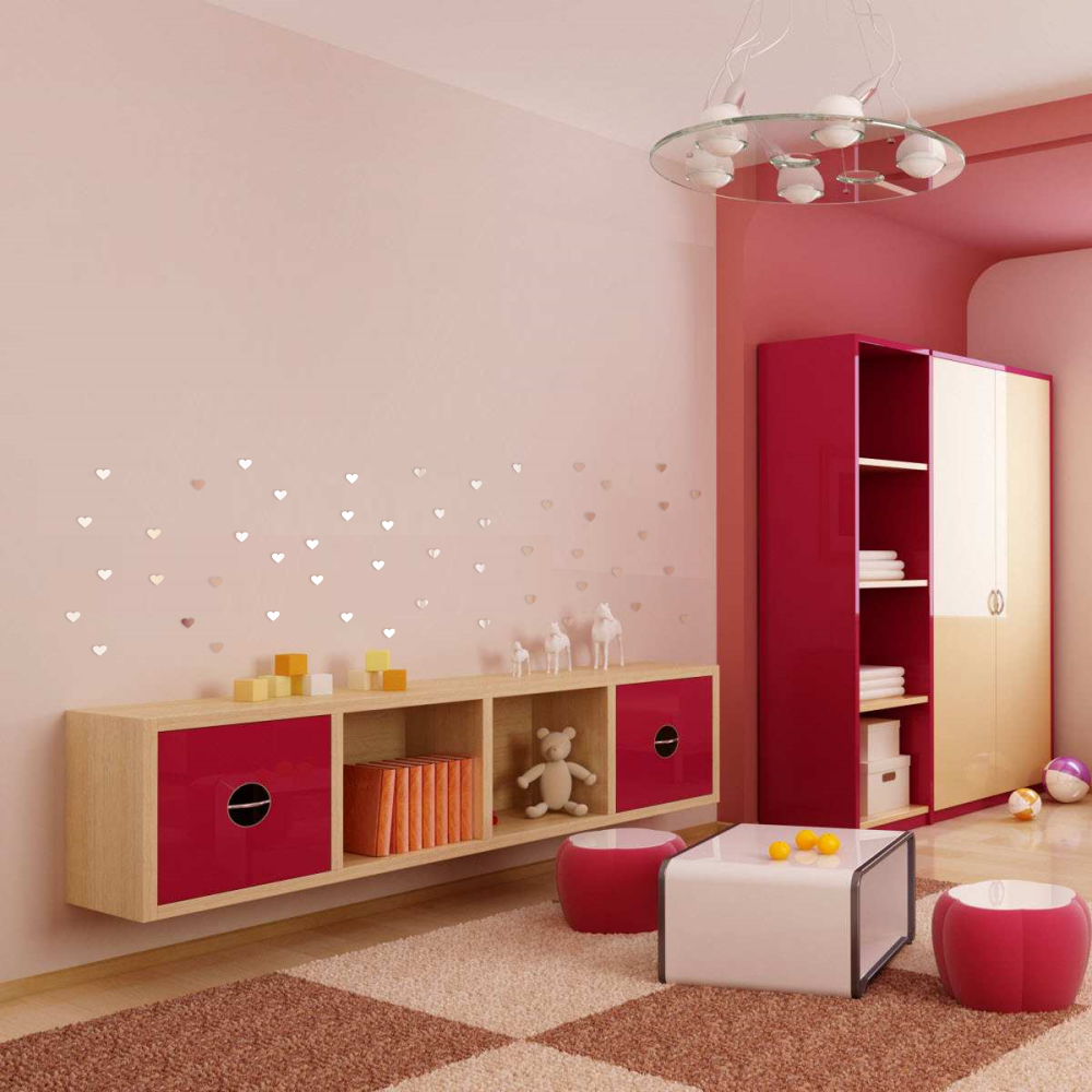 spiegel herz dekoration acryl kinderzimmer baby wandtattoo wandaufkleber neu ebay. Black Bedroom Furniture Sets. Home Design Ideas