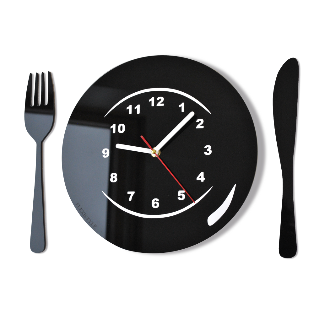 Modern Kitchen Wall Clock Tableware 16 Colours Available